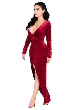 Womens Plunging Neck Long Sleeve Slit Front Evening Dress Red