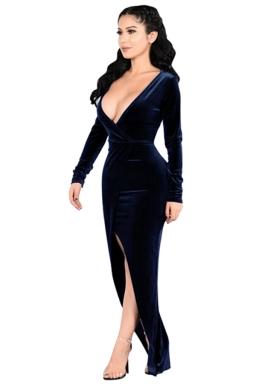 Womens Plunging Neck Long Sleeve Slit Front Evening Dress Navy Blue