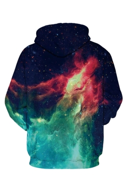 Womens Galaxy Fire Printed Long Sleeve Drawstring Hoodie Turquoise