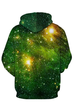 Womens Galaxy Printed Pocket Long Sleeve Drawstring Hoodie Dark Green