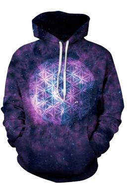Womens Galaxy Printed Pocket Pullover Drawstring Hoodie Purple