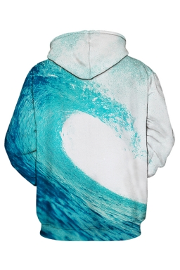 Womens Sea Wave Printed Pocket Pullover Drawstring Hoodie Light Blue
