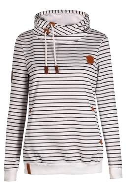 Womens Striped Long Sleeve Pullover Drawstring Hoodie White