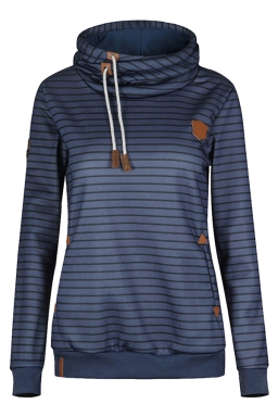 Womens Striped Long Sleeve Pullover Drawstring Hoodie Navy Blue