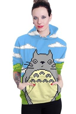 Womens Totoro Printed Long Sleeve Pocket Pullover Hoodie Blue