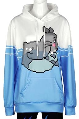 Womens Long Sleeve Cute Totoro Printed Pocket Pullover Hoodie Blue