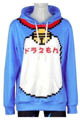 Womens Long Sleeve Cute Doraemon Printed Pocket Pullover Hoodie Blue