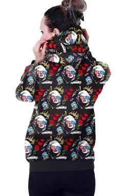 Womens Long Sleeve Marilyn Monroe Printed Pocket Pullover Hoodie Red