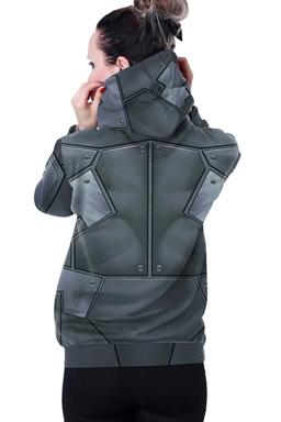 Womens Long Sleeve BATMAN Printed Pocket Pullover Hoodie Dark Gray