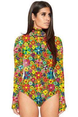 Womens Mock Neck Long Sleeve Floral Printed Bodysuit Yellow
