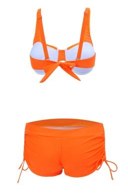 Womens 2-piece High Waist Drawstring Bottom Sports Bikini Set Orange