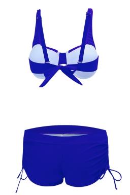 Womens 2-piece High Waist Drawstring Bottom Bikini Set Sapphire Blue