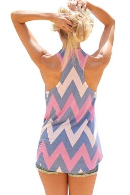 Womens Color Block Rhombus Printed Tank Top Blue