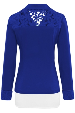 Womens Lace Embroidered One Button Long Sleeve Plain Blazer Blue