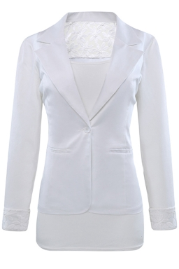 Womens Lace Embroidered One Button Long Sleeve Plain Blazer White
