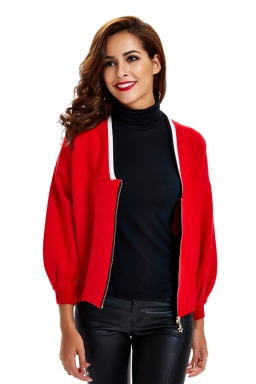 Womens Zip Up Long Sleeve Short Blazer Red