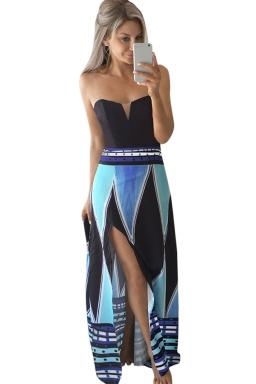 Womens Color Block Geometric Printed Side Slit Maxi Dress Blue