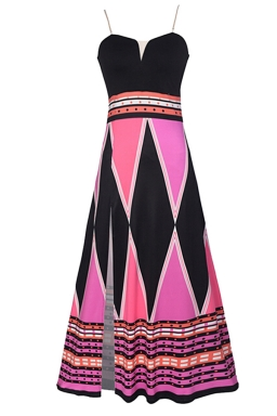 Womens Color Block Geometric Printed Side Slit Maxi Dress Rose Red
