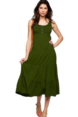 Womens Plain Button Decor Pleated Tank Dress Army Green