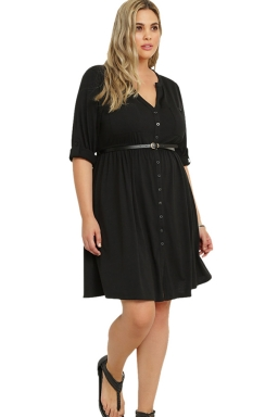 Womens V-neck Half Sleeve Plus Size Belt Plain Shirt Dress Black