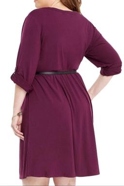 Womens V-neck Half Sleeve Plus Size Belt Plain Shirt Dress Purple