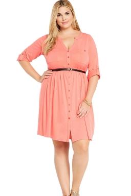Womens V-neck Half Sleeve Plus Size Belt Plain Shirt Dress Pink