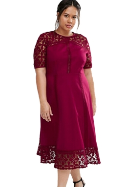 Womens Lace Splice Hollow Out Plus Size Short Sleeve Dress Dark Red