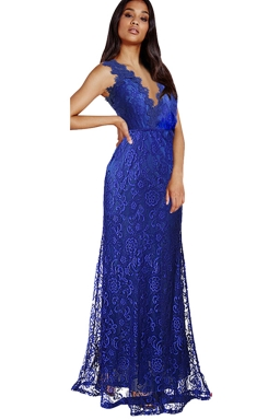 Womens Lace V-neck Backless Sleeveless Maxi Evening Dress Blue