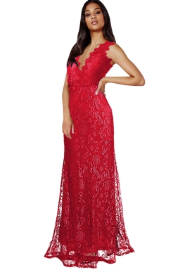 Womens Lace V-neck Backless Sleeveless Maxi Evening Dress Red