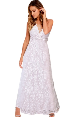Womens Lace V-neck Backless Sleeveless Maxi Evening Dress White