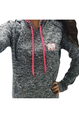 Womens Little Elephant Printed Long Sleeve Drawstring Hoodie Gray
