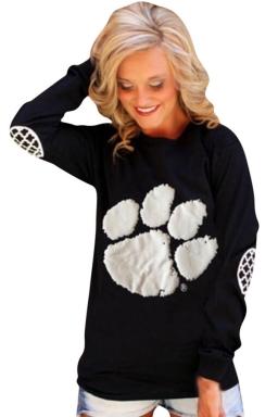 Womens Paw Printed Long Sleeve Pullover Sweatshirt Black