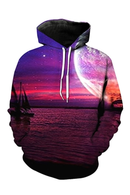 Womens Pocket Long Sleeve Sunset Printed Pullover Hoodie Purple