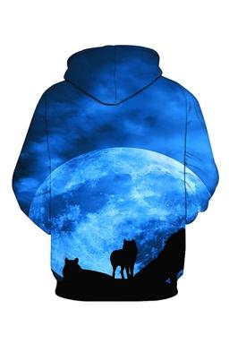Womens Pocket Long Sleeve Wolf Printed Pullover Hoodie Blue