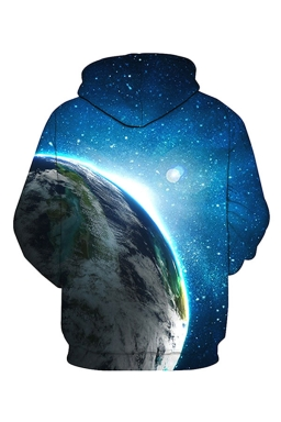 Womens Pocket Long Sleeve Earth Printed Pullover Hoodie Blue