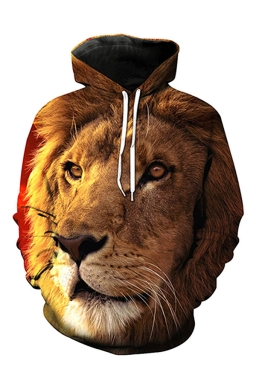 Womens Pocket Long Sleeve Lion Printed Pullover Hoodie Brown