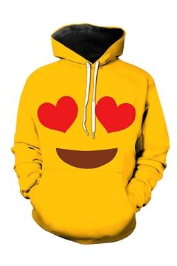 Womens Pocket Long Sleeve Smile Emoji Printed Pullover Hoodie Yellow