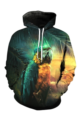 Womens Pocket Long Sleeve Parrot Printed Pullover Hoodie Dark Green