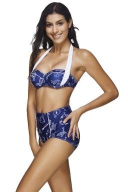 Womens Halter Bandeau Printed High Waist 2pcs Bikini Set Sapphire Blue
