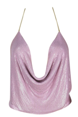 Womens Chain Halter Plunging Neck Backless Sequined Crop Top Purple