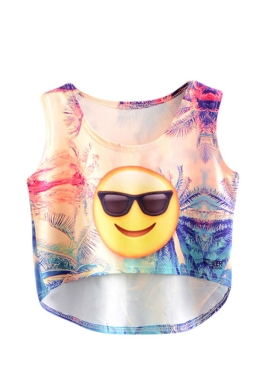 Womens High Low Smile Emoji Printed Sleeveless Crop Top Yellow