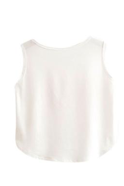Womens High Low Sad Steak Printed Sleeveless Crop Top White