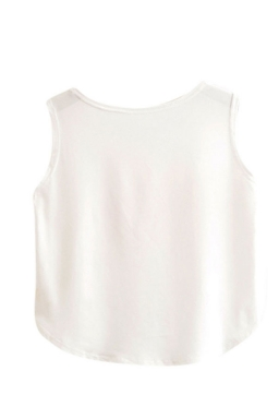 Womens High Low Unicorn Printed Sleeveless Crop Top White
