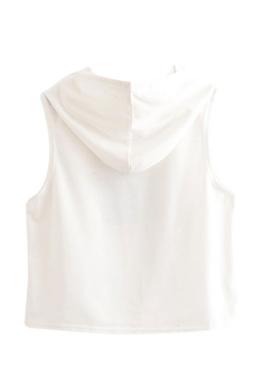 Womens Sleeveless Teacup Storm Print Drawstring Hooded Crop Top White