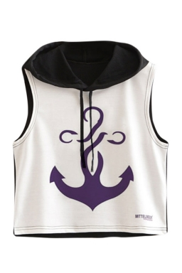 Womens Sleeveless Boat Anchor Printed Drawstring Hooded Crop Top Black