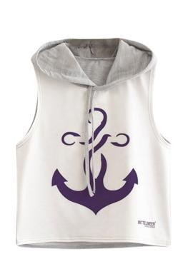 Womens Sleeveless Boat Anchor Printed Drawstring Hooded Crop Top Gray