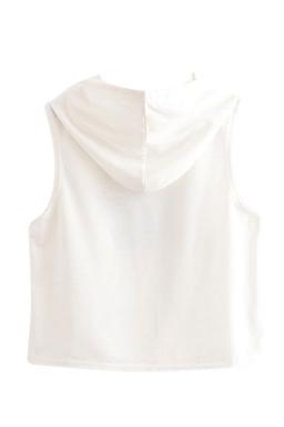 Womens Sleeveless Heart Balloon Print Drawstring Hooded Crop Top White