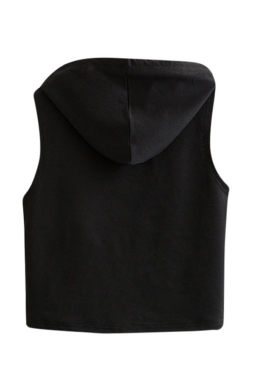 Womens Sleeveless Letter Printed Drawstring Hooded Crop Top Black