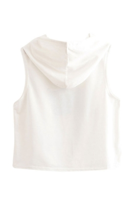 Womens Sleeveless Letter Printed Drawstring Hooded Crop Top White