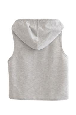 Womens Sleeveless Dandelion Printed Drawstring Hooded Crop Top Gray